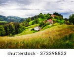beautiful hill landscape with... | Shutterstock . vector #373398823