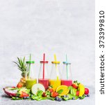 smoothies  assortment  with... | Shutterstock . vector #373399810
