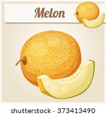 melon. cartoon vector icon.... | Shutterstock .eps vector #373413490