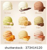 Stock vector set of cartoon vector icons ice cream scoops with different fruit flavors vanilla chocolate 373414120