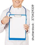 male doctor in white coat... | Shutterstock . vector #373429339