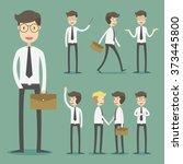 set of businessman in various... | Shutterstock .eps vector #373445800