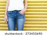 Closeup Of Female Wearing Jean...