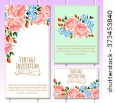invitation with floral... | Shutterstock . vector #373453840