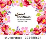 abstract flower background with ... | Shutterstock . vector #373455634