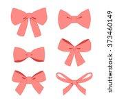 set of pink vintage gift bows... | Shutterstock .eps vector #373460149