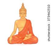 sitting golden buddha isolated... | Shutterstock .eps vector #373462510