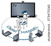 omni channel concept ... | Shutterstock .eps vector #373475260