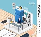 vector e learning concept in... | Shutterstock .eps vector #373476946