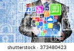 business man using tablet pc... | Shutterstock . vector #373480423