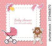 baby shower girl  invitation... | Shutterstock .eps vector #373486870