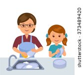 mother and daughter washing the ... | Shutterstock .eps vector #373489420