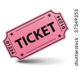pink ticket with shadow. vector ... | Shutterstock .eps vector #37349353