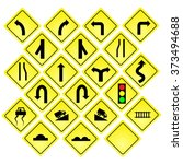 yellow road signs  traffic... | Shutterstock .eps vector #373494688