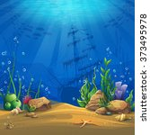 undersea. marine life landscape ... | Shutterstock .eps vector #373495978