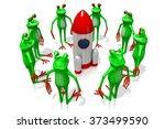 3d cartoon frogs and a rocket   ... | Shutterstock . vector #373499590