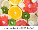 citrus fruit background with a... | Shutterstock . vector #373514368