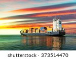 sailing container ship at... | Shutterstock . vector #373514470