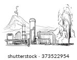 geothermal power station.... | Shutterstock .eps vector #373522954