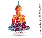sitting buddha silhouette with... | Shutterstock .eps vector #373524253