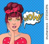 wow bubble pop art.surprised...   Shutterstock .eps vector #373534396