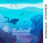 underwater diving infographics... | Shutterstock .eps vector #373534828