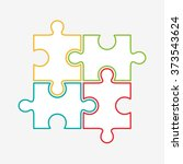 four puzzle colored pieces... | Shutterstock .eps vector #373543624