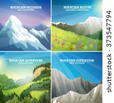 mountains landscapes 4 flat... | Shutterstock .eps vector #373547794