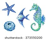 nautical elements  sea life ... | Shutterstock . vector #373550200