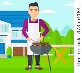 man preparing barbecue. | Shutterstock .eps vector #373554184