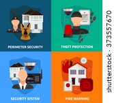 home security 2x2 flat design... | Shutterstock .eps vector #373557670