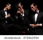 3 poses of seated confident... | Shutterstock . vector #373562554