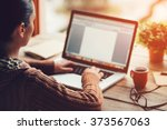 working at home. close up image ... | Shutterstock . vector #373567063