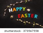 happy easter greeting card with ... | Shutterstock . vector #373567558