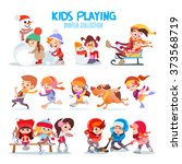 Big Set Of Happy Cartoon Kids...