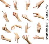 set of female hands gestures ... | Shutterstock . vector #373568740