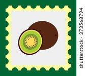 whole kiwi and cut kiwi half | Shutterstock .eps vector #373568794