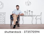 table for two. young handsome... | Shutterstock . vector #373570594