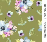 seamless pattern with flowers... | Shutterstock . vector #373573258