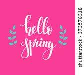 hello spring lettering....   Shutterstock .eps vector #373576318