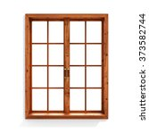 wooden window isolated on white ... | Shutterstock . vector #373582744