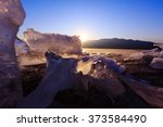 the sun sets over the famous... | Shutterstock . vector #373584490