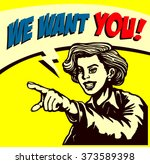 i want you  retro businesswoman ... | Shutterstock .eps vector #373589398