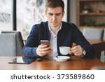 young hipster guy texting with... | Shutterstock . vector #373589860