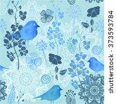 Seamless Blue Nature Pattern...