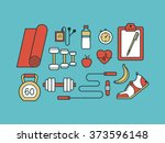 set of colorful sport icons. | Shutterstock .eps vector #373596148