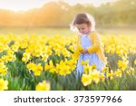 toddler girl playing in... | Shutterstock . vector #373597966
