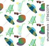 vector beach pattern for summer   Shutterstock .eps vector #373612378