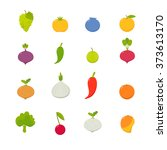 set of vector flat fruits vol.1 | Shutterstock .eps vector #373613170