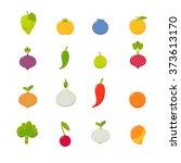 set of vector flat fruits vol.1   Shutterstock .eps vector #373613170